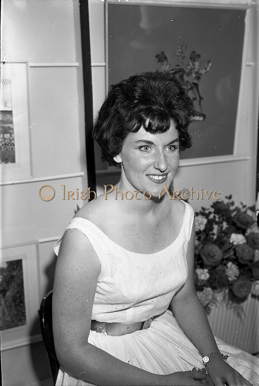 08/08/1962<br /> 08/08/1962<br /> 08 August 1962 <br /> Dublin Horse show at the RDS, Ballsbridge, Dublin, Wednesday. Miss Maureen McNeill, Ulster Transport at the Northern Ireland Tourist Board Stand at the show.