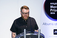 Host Huw Stephens announces the 12 shortlisted albums during the 2019 Hyundai Mercury Prize Launch, Langham Hotel, London, UK, Saturday 06 July 2019<br /> Photo JM Enternational