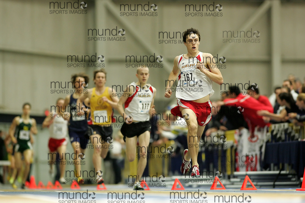 (Windsor, Ontario---13 March 2010) Kyle Boorsma of the University of Guelph competes in the 1500m final at the 2010 Canadian Interuniversity Sport Track and Field Championships at the St. Denis Center. Photograph copyright Sean Burges/Mundo Sport Images. www.mundosportimages.com