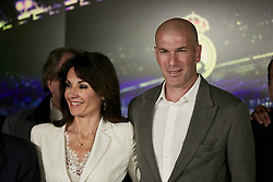 Zinedine Zidane and his wife Veronique pose for the photographers during his presentation as the new Real Madrid's head coach at Santiago Bernabeu stadium in Madrid, Spain, March 11, 2019. Zidane comes back to Real Madrid after 278 days and will replace Argentinian Santiago Hernan Solari and signs until 2022. Photo by A. Perez Meca/AlterPhotos/ABACAPRESS/.COM