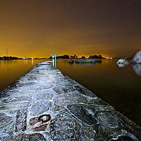 Paysage de nuit a Arradon dans le golfe du Morbihan