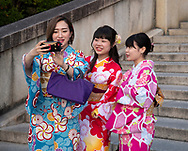 Young Japanese women dressed in colourful kimonos taking selfies in Kyoto,  Japan