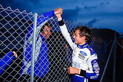Lando Norris celebrates with team boss Trevor Carlin after winning the Championship Title with a race to spare | #31 Carlin | MSA Formula Championship | Race 2 - Mandatory byline: Rogan Thomson/JMP - 07966 386802 - 10/10/2015 - MOTORSPORT - Brands Hatch GP Circuit - Fawkham, England - BTCC Meeting Day 1.