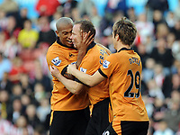 Britannia Stadium Stoke City v Wolverhampton Wanderers 31/10/09<br /> Jody Craddock  (Wolves) celebrates his  equaliser with Chris Iwelumo<br /> Photo Roger Parker Fotosports International