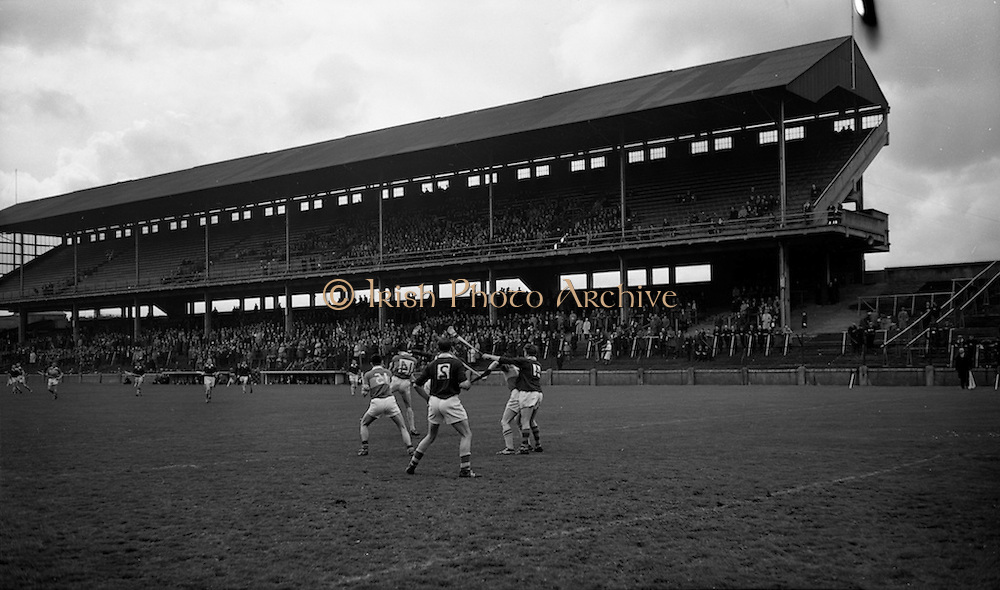 25/04/1965<br /> 04/25/1965<br /> 25 April 1965<br /> National Hurling League Semi-Final: Kerry v West Meath at Croke Park, Dublin. <br /> The West Meath defence, J. Dalton (4) and S. Holdwright (2), is hard pressed by Kerry forwards, T. Driscoll (14)and J. Barry (15).