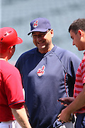 ANAHEIM, CA - APRIL 30:  Manager Terry Francona #17 of the Cleveland Indians talks to a player before the game against the Los Angeles Angels of Anaheim at Angel Stadium on Wednesday, April 30, 2014 in Anaheim, California. The Angels won the game 7-1. (Photo by Paul Spinelli/MLB Photos via Getty Images) *** Local Caption *** Terry Francona