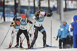 February 11, 2018 - Pyeongchang, GANGWON, SOUTH KOREA - Feb 10, 2018-Pyeongchang, South Korea-Johanna TALIHAERM of Republic of Estonia and Franziska HILDEBRAND of Germany action on the snow during an Olympic Biathlon Women Sprint 7.5Km at Biathlon Center in Pyeongchang, South Korea. (Credit Image: © Gmc via ZUMA Wire)