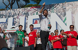 September 30, 2018 - Rome, Italy - The Democratic Party (PD) demonstrated against the politics of the current government in Piazza del Popolo, attended by about 50,000 people. After the speeches of various speakers on stage the party secretary Maurizio Martina concluded the event. Among the participants, many parliamentarians and leaders of the PD such as the former secretary Matteo Renzi, the former Prime Minister Paolo Gentiloni, Emanuele Fiano, Gianni Cuperlo member of the National Directorate, the President of the Lazio Region Nicola Zingaretti (Credit Image: © Leo Claudio De Petris/Pacific Press via ZUMA Wire)