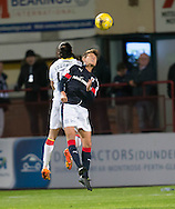 Dundee&rsquo;s Danny Williams and Partick Thistle&rsquo;s Ryan Edwards compete in the air - Dundee v Partick Thistle in the Ladbrokes Scottish Premiership at Dens Park, Dundee. Photo: David Young<br /> <br />  - &copy; David Young - www.davidyoungphoto.co.uk - email: davidyoungphoto@gmail.com