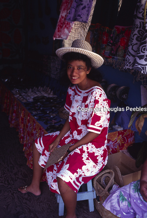 Tahitian Woman at market, Papeete, Tahiti, French Polynesia (editorial use only, no model release)<br />