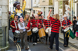 Dakadoum Samba Band takes part in the Penryn Festival in Cornwall.