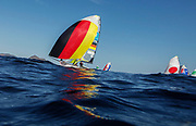 Erik Heil and Thomas Ploessel from Germany sail during a 49er Mens class race in the Rio 2016 Olympic Games Sailing events in Rio de Janeiro, Brazil, 13 August 2016.