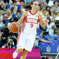 09 August 2012: Russia Becky Hammon brings the ball upcourt during 81-64 Team France victory over Team Russia, during the women's basketball semi-finals, at the 02 Arena, in London, Great Britain.