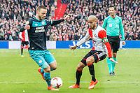 ROTTERDAM - Feyenoord - PSV , Voetbal , Eredivisie , Seizoen 2016/2017 , De Kuip , 26-02-2017 ,  PSV speler Bart Ramselaar (l) in duel met Feyenoord speler Karim El Ahmadi (r)