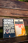 1984 by George Orwell, novel published in 1949, and Ray Bradbury's Farenheit 451, published in 1953.