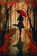 Painterly rendition of a silhouetted woman with a red umbrella walking among fall colored trees with reflections on the wet pavement