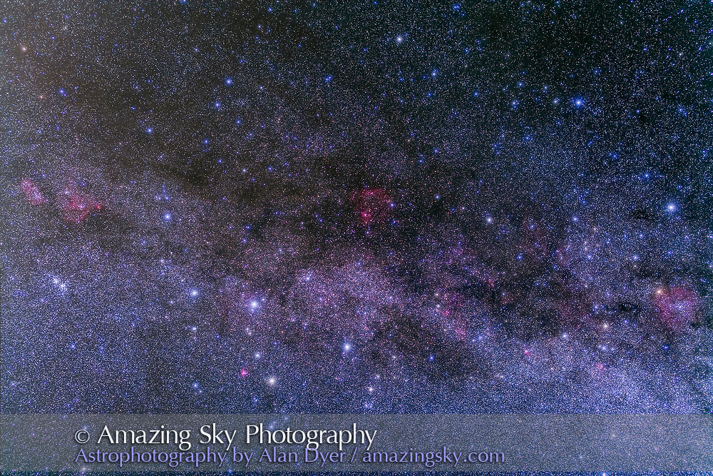 Cassiopeia and Cepheus in a stack of 5 x 4 minute exposures with the Canon 5D MkII at ISO 800 and 50mm Sigma lens at f/3.2. Plus two exposures taken thru the Kenko Softon filter for the star glows. Takes in the nebulosity in this part of the Milky Way from IC 1396 (at right) to IC 1805 (at left). Taken from home Sept, 29, 2013.