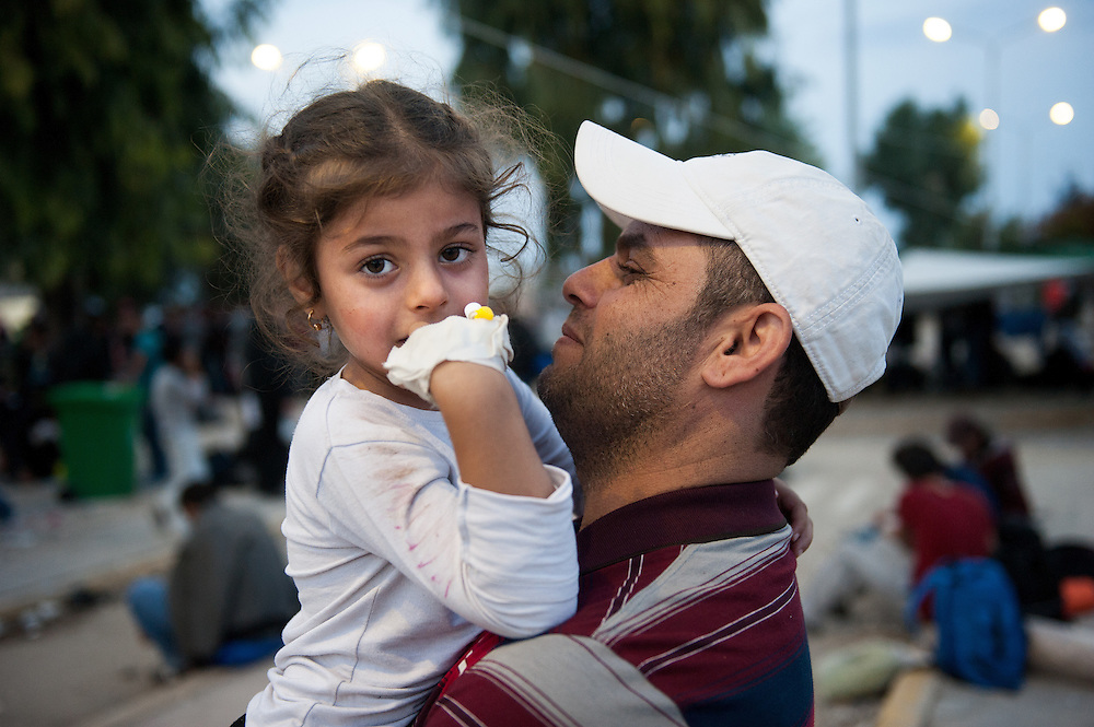 Rahf, 5 years old with her dad Ryad 36 years old from Mosul, Iraq in Kara Tepe camp, Lesvos, Greece