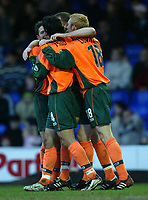 Photo. Aidan Ellis.<br /> Stockport County v Plymouth Argyle.<br /> Nationwide Division 2.<br /> 24/01/2004.<br /> Plymouth celebrate Graham Coughlan's goal and teams second