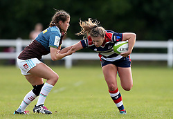 Chantelle Miell of Bristol Ladies hands off a tackle - Mandatory by-line: Robbie Stephenson/JMP - 18/09/2016 - RUGBY - Cleve RFC - Bristol, England - Bristol Ladies Rugby v Aylesford Bulls Ladies - RFU Women's Premiership