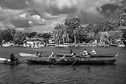 Walton, Great Britain,  Men's Double at the start, moving away from the Stake Boats, Walton Reach Regatta, River Thames. Walton on Thames, Skiff and Punting Regatta  <br />