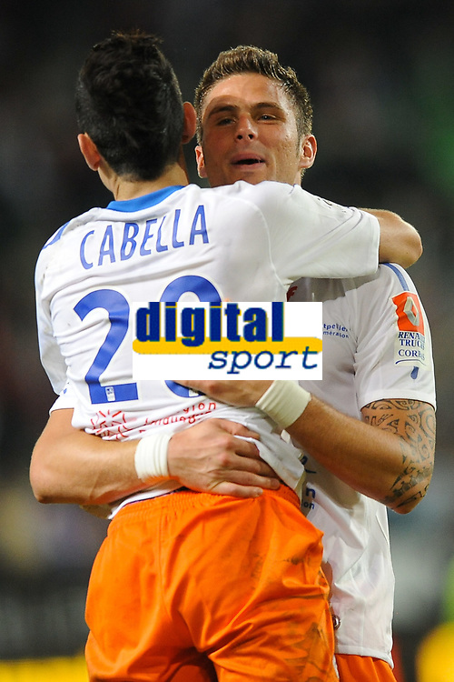 FOOTBALL - FRENCH CHAMPIONSHIP 2011/2012 - L1 - STADE RENNAIS v MONTPELLIER HSC - 7/05/2012 - PHOTO PASCAL ALLEE / DPPI - JOY REMY CABELLE AND OLIVIER GIROUD (MONT) AT THE END OF MATCH