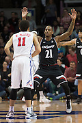 DALLAS, TX - JANUARY 7: Farad Cobb #21 of the Cincinnati Bearcats defends against the SMU Mustangs on January 7, 2016 at Moody Coliseum in Dallas, Texas.  (Photo by Cooper Neill/Getty Images) *** Local Caption *** Farad Cobb