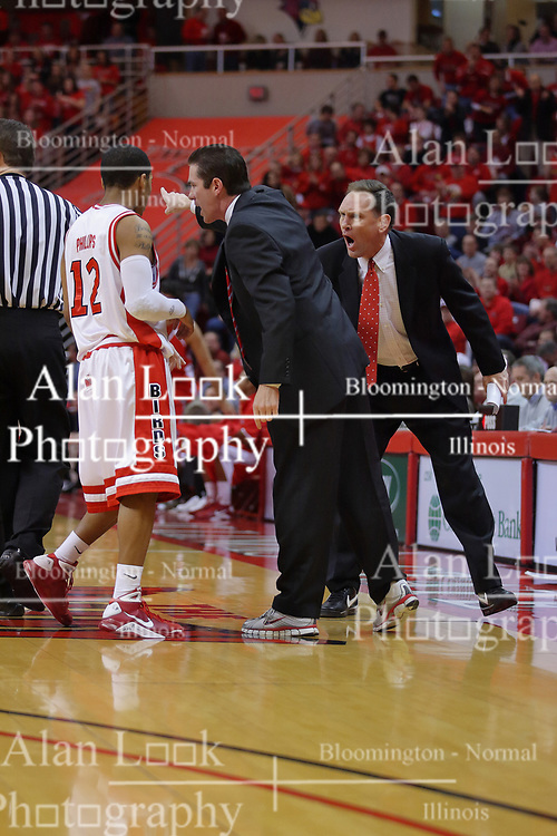 "31 January 2009: Coach Tim Jankovich and Rob Judson have a discussion with Lloyd Phillips. The Illinois State University Redbirds join the Bradley Braves in a tie for 2nd place in ""The Valley"" with a 69-65 win on Doug Collins Court inside Redbird Arena on the campus of Illinois State University in Normal Illinois"