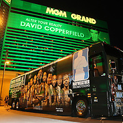 """The Money Team bus of Floyd Mayweather Jr. is seen parked outside of the MGM Grand hotel on Thursday, May 1, 2014 in Las Vegas, Nevada. Floyd Mayweather Jr. will fight against Marcos Maidana in what is being billed as  """"The Moment"""" welterweight boxing match on May 3. (AP Photo/Alex Menendez)"""