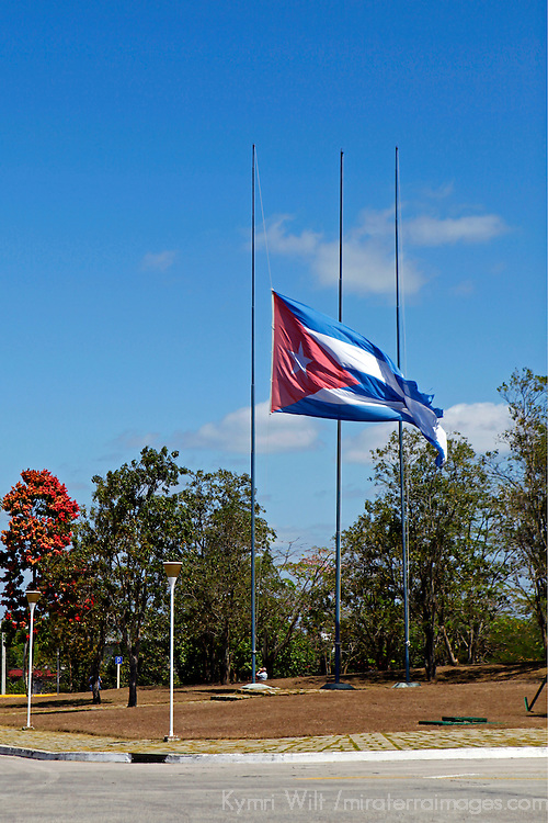 Central America, Cuba, Santa Clara. The Cuban Flag hangs at half-mast after the death of Hugo Chavez at the Che Guevara Memorial and Museum.