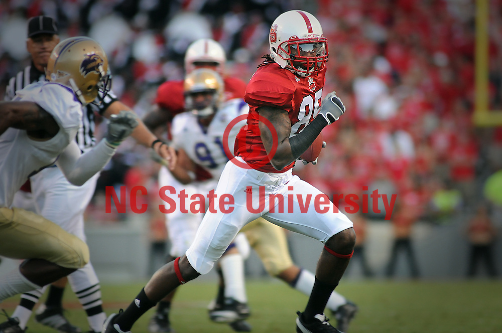 Wolfpack wide receiver Steven Howard heads downfield after a catch against Western Carolina. PHOTO BY ROGER WINSTEAD