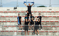 Supporters of Celje during football match between NK Triglav and NK Celje in 7th Round of Prva liga Telekom Slovenije 2019/20, on August 25, 2019 in Sports park, Kranj, Slovenia. Photo by Vid Ponikvar / Sportida