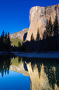 Morning light on El Capitan from the Merced River, Yosemite National Park, California USA