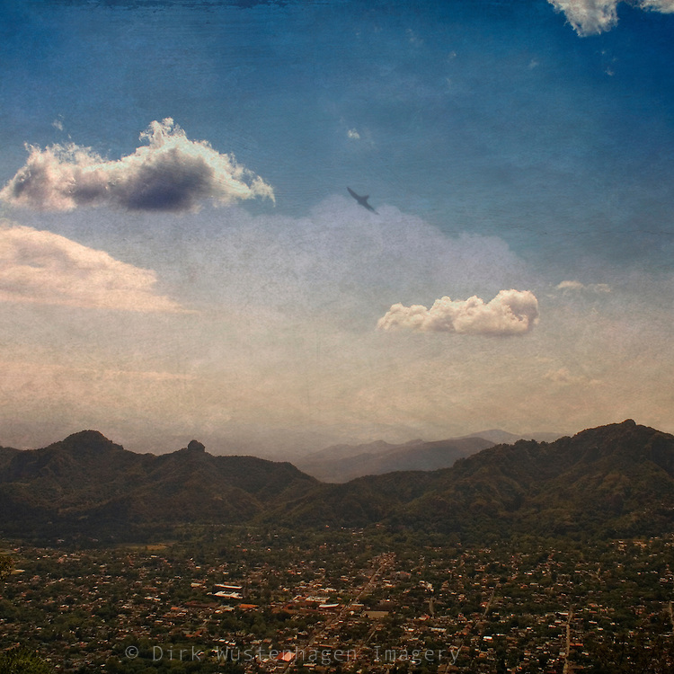 Mexican landscape - view from pyramis site down on the Sierra de Tepoztlán