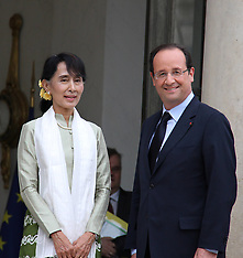 Francois Hollande and Aung San Suu Kyi Myanmar 26-6-12