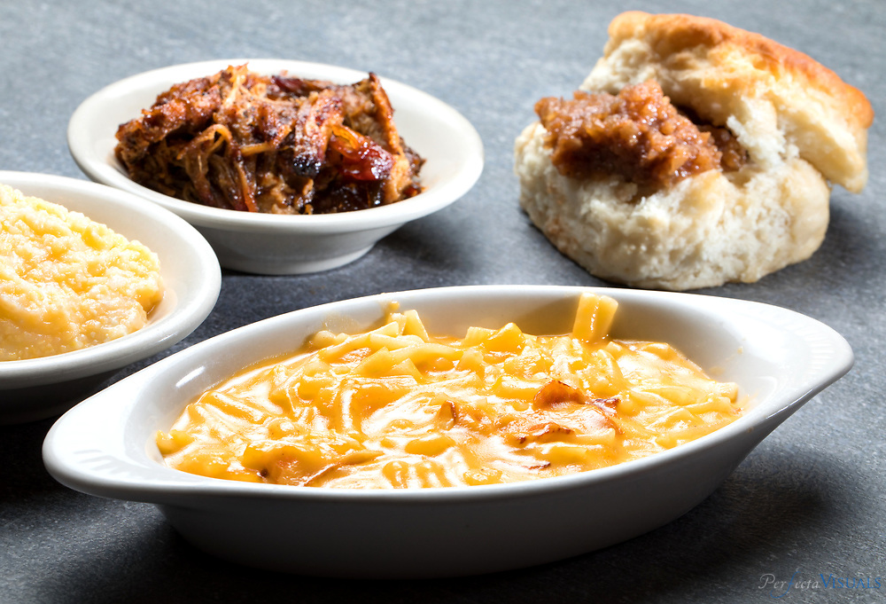Moose Cafe, hash brown casserole, grits, barbecue and a biscuit, $8.49 at lunch<br /> <br /> Photographed, Sunday, March 18, 2018, in Greensboro, N.C. JERRY WOLFORD and SCOTT MUTHERSBAUGH / Perfecta Visuals