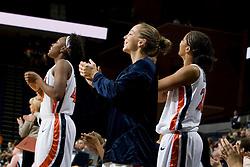 Virginia guard Tara McKnight (21) cheers on teammates from the bench.  The Virginia Cavaliers women's basketball team defeated the Rhode Island Rams 89-53 at the John Paul Jones Arena in Charlottesville, VA on January 9, 2008.