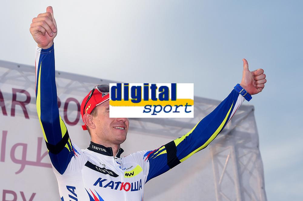 Podium, KRISTOFF Alexander (NOR) Katusha, winner, during the 14th Tour of Qatar 2015, Stage 5, Al Zubarah Fort - Madinat Al Shamal (153Km), on February 12, 2015. Photo Tim de Waele / DPPI