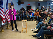 16 DECEMBER 2019 - KEOKUK, IOWA: US Senator ELIZABETH WARREN (D-MA) speaks at a campaign event in Keokuk, IA, Monday. About 100 people attended the town hall. Warren is campaigning in southeastern Iowa this weekend to support her effort to be the Democratic nominee for the US presidential race in 2020. This was Warren's 185th town hall, and 88th event in Iowa. Iowa traditionally hosts the first presidential selection event of the campaign season. The Iowa caucuses are Feb. 3, 2020.        PHOTO BY JACK KURTZ