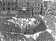 Anjou's ceremony at the City Hall in Antwerp.  On the occasion of the arrival of the Duke of Anjou in Antwerp the City Hall and firework festivities  before he would be honoured Duke of Barrant, 19 Feb. 1582.  The print gives an interesting picture of the city decoration, lighting, costumes, money-throwing, etc.