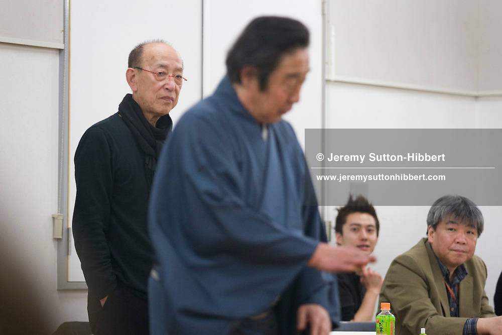 Director Yukio Ninagawa (in black, on left) watches actor Onoe Kikugoro VII during rehearsals for 'Twelfth Night', in Tokyo, Japan, Friday 13th March 2009. Ninagawa'a 'Twelfth Night' will play at the Barbican Centre in London, March 24th-28th 2009, and will star two of the great Kabuki actors Onoe Kikunosuke V and his father, a 'Living National treasure', Onoe Kikugoro VII.