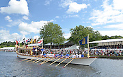 Henley, GREAT BRITAIN,  Gloriana makes her way down the Henley course. 2012 Henley Royal Regatta. ..Sunday  11:24:21  01/07/2012. [Mandatory Credit, Peter Spurrier/Intersport-images]...Rowing Courses, Henley Reach, Henley, ENGLAND . HRR. . HRR.