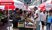 Fruit and vegetable market stalls in Dubrovnik, Croatia
