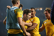 Australia's fly half Bernard Foley celebrating scoring a try during the Rugby World Cup Pool A match between England and Australia at Twickenham, Richmond, United Kingdom on 3 October 2015. Photo by Matthew Redman.