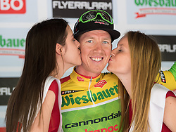 03.07.2017, Wien, AUT, Ö-Tour, Österreich Radrundfahrt 2017, 1. Etappe von Graz nach Wien (193,9 km), Siegerehrung, im Bild Sep Vanmarcke (BEL, Cannondale-Drapac Pro Cycling Team) im gelben Trikot // Sep Vanmarcke (BEL Cannondale-Drapac Pro Cycling Team) of Belgium in the yellow jersey during winner ceremony for the 1st stage from Graz to Vienna (193,9 km) of 2017 Tour of Austria. Wien, Austria on 2017/07/03. EXPA Pictures © 2017, PhotoCredit: EXPA/ Reinhard Eisenbauer