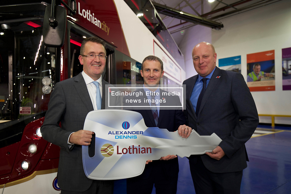 Michael Matheson, the Scottish Transport and Infrastructure Secretary (centre) with Colin Robertson, CEO of Alexander Dennis (left) and Richard Hall, managing director of Lothian, at launch of new bus built by Alexander Dennis of Falkirk. pic copyright Terry Murden @edinburghelitemedia