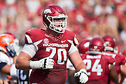 FAYETTEVILLE, AR - SEPTEMBER 5:  Dan Skipper #70 of the Arkansas Razorbacks walks to the sidelines during a game against the UTEP Miners at Razorback Stadium on September 5, 2015 in Fayetteville, Arkansas.  The Razorbacks defeated the Miners 48-13.  (Photo by Wesley Hitt/Getty Images) *** Local Caption *** Dan Skipper