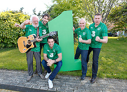 No Fee for Repro: .The Official Euro Republic of Ireland Song for Euro 2012 Tops the Irish Charts. .The Ray D'Arcy Show celebrated the No. 1 hit with 'The Rocky Road to Poland', rocked to the top of the Irish Singles Charts. Pictured celebrating are Dubliner Eamonn Campbell, Danny O'Reilly (Corona's), Bressie, Ray D'Arcy and Damien Dempsey. All profits from the single will be split between John Giles Foundation and Today FM's Shave or Dye, which has already raised over ?1.38 million this year for the Irish Cancer Society. Pic Andres Poveda..For further information, please contact:.Gill Waters.Today FM Press Office.Tel: 01-804 9047