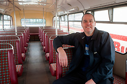 Olive Grove Bus bus depot open day on Saturday, Bus owner Richard Waterhouse on the bottom deck of his  with his 1975 Bristol VR which saw service with Midland General..12 May 2013.Image © Paul David Drabble