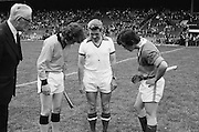 Referee tosses a coin before the start of the All Ireland Minor Hurling Final, Tipperary v Kilkenny in Croke Park on the 5th September 1976.